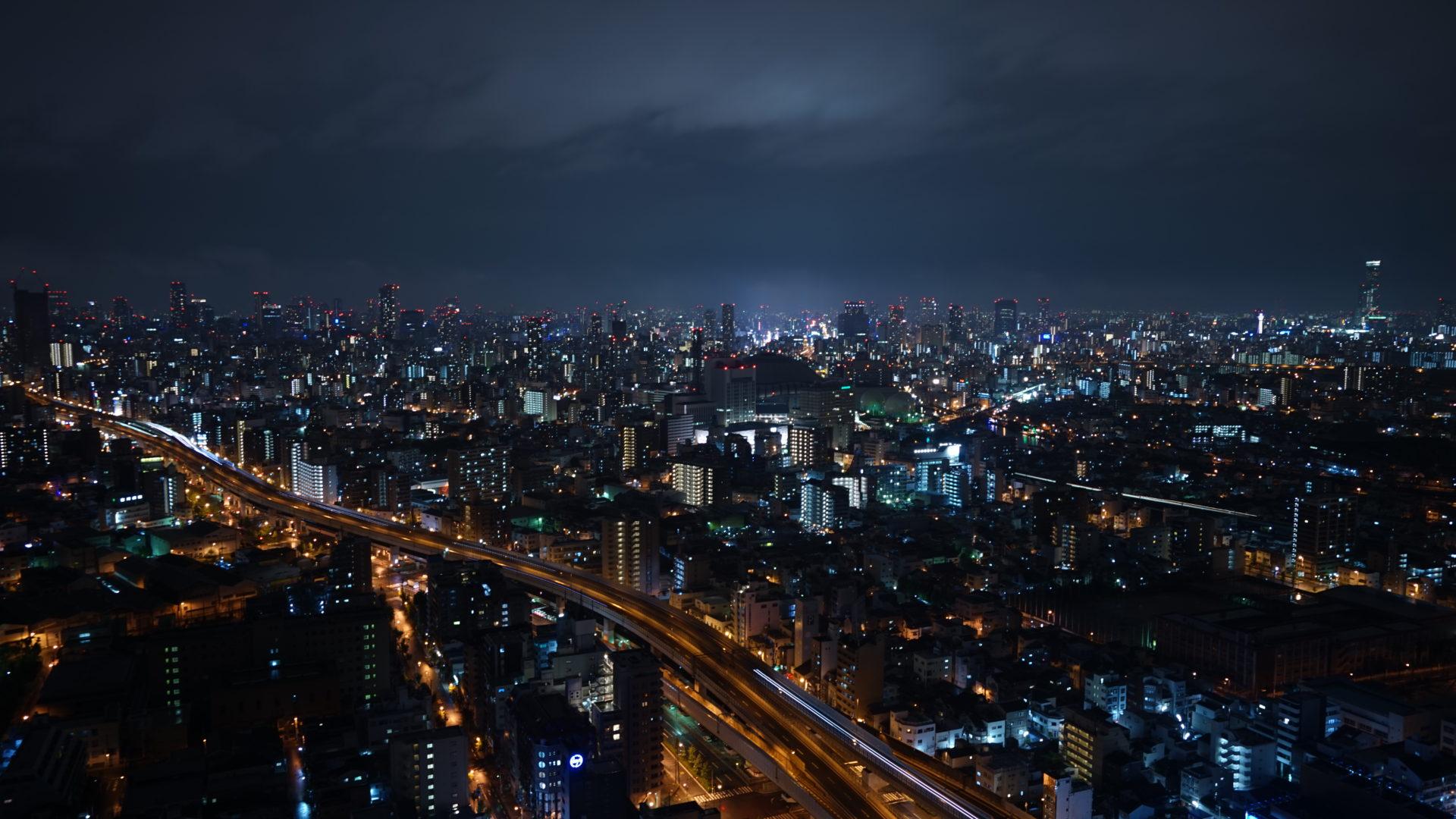 大阪の夜景と伊丹空港撮影